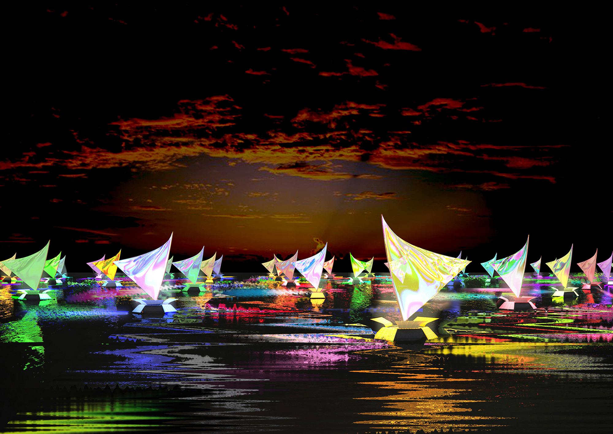 Antonio Barrese: FlowingRiver_RioAmazonas, 2011/in progress - Evento di arte geografica, Brasile - visione notturna.